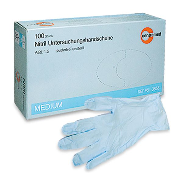 slide image Nitril Handschuhe Centramed puderfrei blau